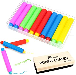 Clear Set Moonlove Adjustable Plastic Chalk Holder Replacement Case for Teacher Students School Kitchen Office Blackboard Writing Including Chalks Pack of 6pcs