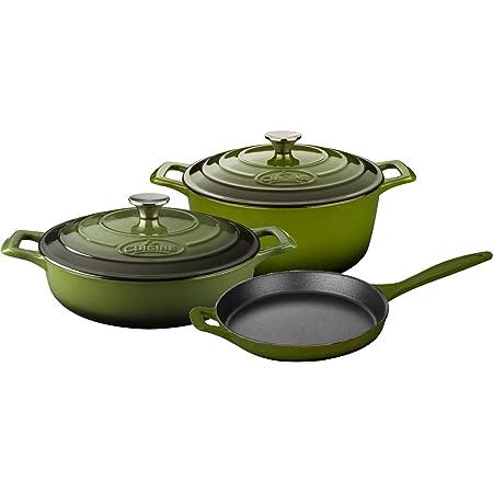 """La Cuisine 5-Piece Enameled Cast Iron 5 pc Set, 3.75QT Saute, 6.5QT Round w/lid, 10"""" Fry Pan-Green, Olive"""