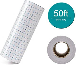 """Clear Vinyl Transfer Paper Tape Roll 6""""x 50 Feet Clear w/Alignment Grid - Application Transfer Tape Perfect for Cameo Self Adhesive Vinyl for Signs Stickers Decals Walls Doors & Windows"""