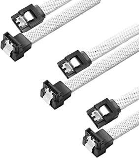 QIVYNSRY 3PACK SATA Cable III 3 Pack 90 Degree Straight to Right Angle 6Gbps HDD SDD SATA Data Cable with Locking Latch 18 Inch for SATA HDD, SSD, CD Driver, CD Writer, White