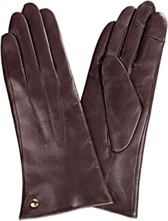 SHENTIANWEI Leather Gloves Women's Long Touch Screen Warm Fashion Winter Ladies Gloves (Color : Brown, Size : L)