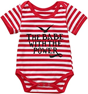 The Babe with The Power Infant Baby Romper Boys Girls Letter Print Jumpsuit
