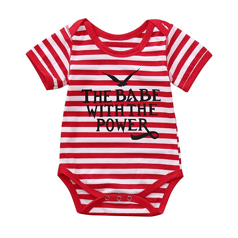 Sagton The Babe with The Power Infant Baby Romper Boys Girls Letter Print Jumpsuit