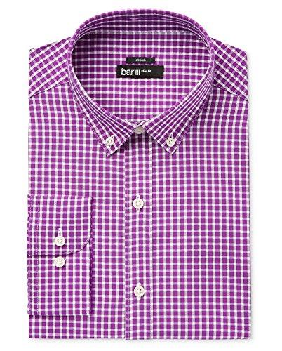 Bar III Men's Purple Slim Fit Checker Print Woven Dress Shirt Mulberry Check Med
