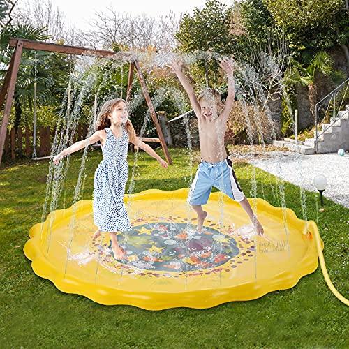 FORMIZON Splash Pad, 170 cm Almohadilla de Aspersión, Jardín de Verano Juguete Acuático para Familiares Playa Jardín Party Juegos Aire Libre para Niños y Mascotas (Oceano)