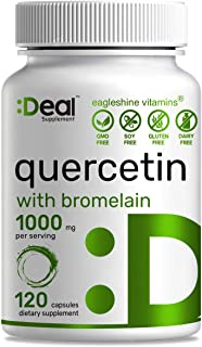 Quercetin 500mg Per Capsule (Quercetin with Bromelain),120 Counts, Support Healthy Immune Response & Cardiovascular Health...