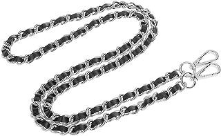 Schultergurt Umhängetasche Silber überzogene Kette PU-Leder Braid Ersatz Schultergurt für DIY-Geldbörsen Handtaschen - Sil...