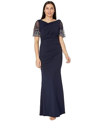 Betsy & Adam Long Crepe Gown w/ Beaded Mesh Short Sleeve