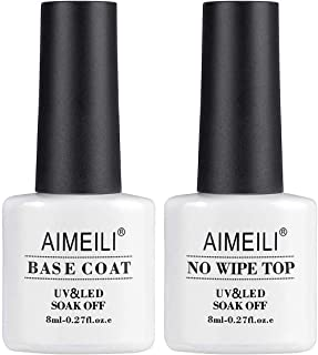 AIMEILI Base y Top Coat Semipermanente Esmalte Semipermanente UV LED Kit de Uñas Gel de Regalo Para Kit de Manicura Soak off Manicura y Pedicura - 2 x 8ml