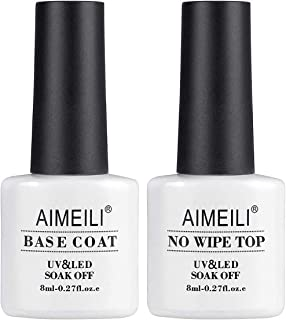 AIMEILI No Wipe Top and Base Coat Gel Polish Set 2×8ml Soak Off UV LED Gel Nail Polish Varnish Lacquer Manicure Set