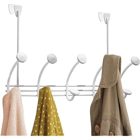 mDesign patère Murale – 10 Crochets muraux pour la Porte dans Le Couloir et la Salle de Bain – Garde-Robe Murale pour Manteaux, Vestes, Peignoirs, Serviettes – Blanc