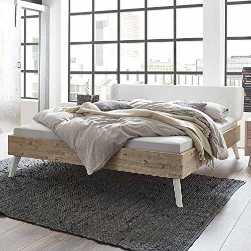 Pharao24 Bett aus Akazie Massivholz Polsterkopfteil in Weiß Breite 153 cm Liegefläche 140x200 Stütz-Steg