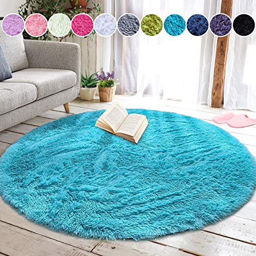 junovo Round Fluffy Soft Area Rugs for Kids Girls Room Princess Castle Plush Shaggy Carpet Cute Circle Nursery Rug for Kids Baby Girls Bedroom Living Room Home Decor Small Circular Carpet, 4ft Blue