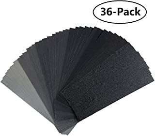 120 to 3000 Grit Sandpaper Assortment for Metal Sanding, Automotive Polishing and Wood Furniture Finishing, Dry/Wet, Made of Waterproof Silicon Carbide, 9 x 3.6 inch, 36-Pieces