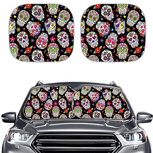 HUISEFOR Hippie Auto Sunshade(2pcs) for Car Windshield Ultra Reflective Fabric, UV and Sun Protection Windshield Shade Sugar Skull Designs Car Sun Shade Universal Size fit Most Car