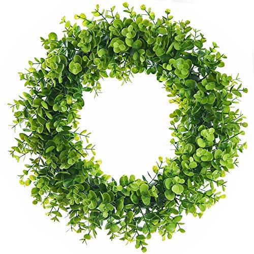 Lvydec Artificial Green Leaves Wreath - 15' Fake Eucalyptus Wreath Outdoor Green Wreath for Front Door Wall Window Party Décor