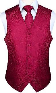 HISDERN Gilet da Uomo Paisley Floreale Jacquard Floreale Cravatta Tasca Quadrata Fazzoletto Vestito Set