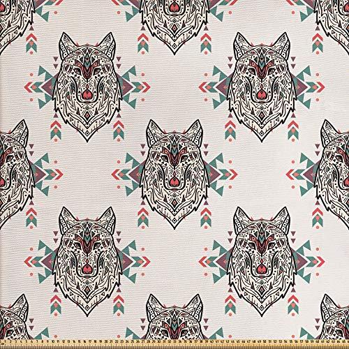 ABAKUHAUS Amante De Los Perros Tela por Metro, Modelo Tribal Del Lobo, Decorativa para Tapicería y Textiles del Hogar, 1M (148x100cm), Multicolor