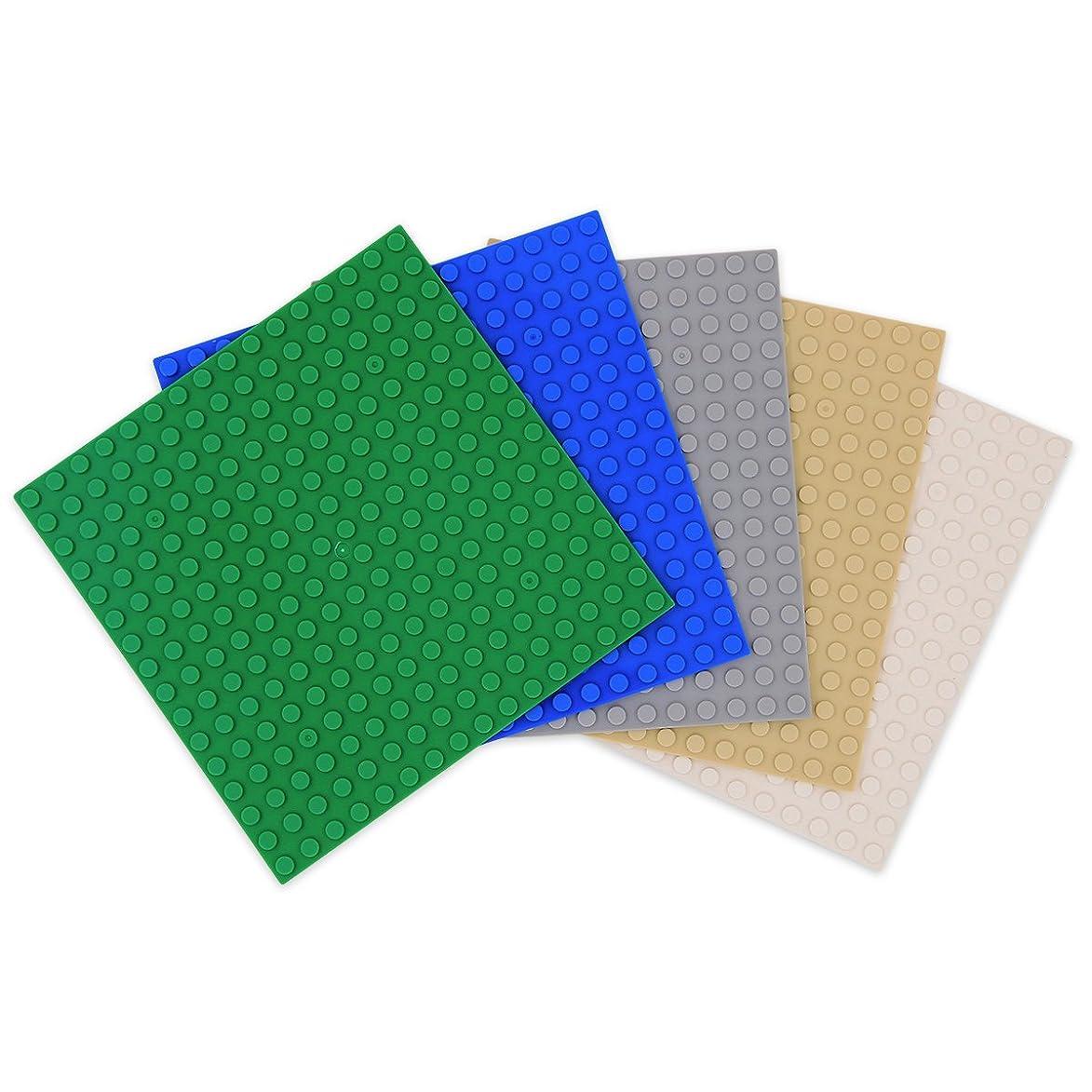 高潔な強化するプロポーショナルINIBUD 基礎板 ブロック プレート クラシック 互換性 16×16ポッチ 5枚セット グリーン ブルー ライトグレー ベージュ ホワイト