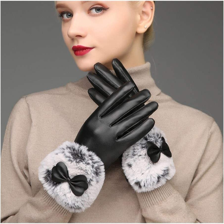 Lupovin-Keep Warm Riding Increase Down to Keep Warm Waterproof and Windproof Touch Screen Gloves Cycling Driving car Skin Gloves Fashion Woman Winter Warm Leather Gloves Non-Slip