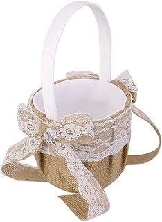 Decoración Fiesta suministros venta caliente yute de arpillera flor cesta para boda cesta cesta de flores las niñas Bowknots de encaje cesta para boda decoración de una fiesta–22x 13x 13cm