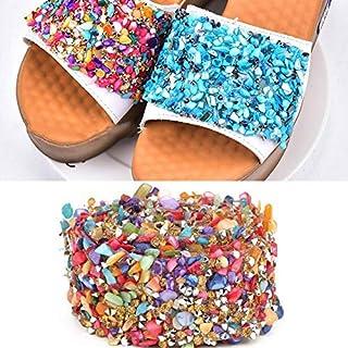 comprar comparacion HEEPDD 1m Brillante Colorido de la Cinta del Ajuste de Piedra, DIY Apliques de Cristal Rhinestones de Cristal Shell Apliqu...
