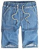 LifeHe Men's Summer Casual Drawstring Elastic Waist Denim Shorts Multi Pockets