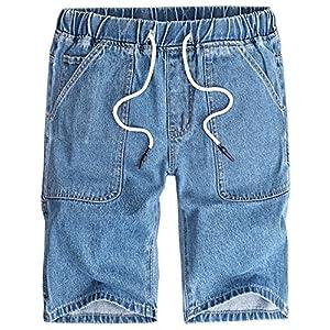 Men's Summer Casual Drawstring Elastic Waist Denim Shorts Multi Pocke...