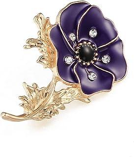 Spilla con fiori di papavero vintage, spilla con fibbia per fiori, accessori per borse