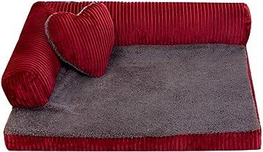 Jiyaru Animal Doméstico Sofá Cama Cama Algodón Suave Paño Grueso y Suave Almohada Suave Desmontable Mascota Gato Perro Rojo L
