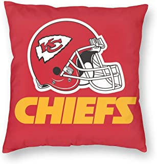 BUSAMEDO Cushion Cover Football Team Logo Kansas City Chiefs Throw Pillow Cover Home Decorative for Men/Women/Boys/Girls Living Room Bedroom Sofa Chair 18X18 Inch Pillowcase