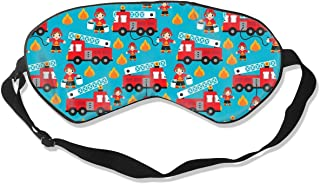 Ideal Gifts - Unisex Sleeping Eye Mask Fire Truck and Hero Boys Car Eye Mask Cover with Adjustable Strap Blindfold Eyemask for Travel Nap Meditation