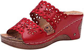 Sandalias Mujer Verano Cuña Cómodos Casual Retro Zapatos de Boca de Pescado Playa Sandalias de Punta Abierta Tobillo Zapat...