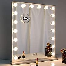 Argent Ukiki Miroir Cosm/étique Allum/é de Miroirs de Style dHollywood Miroir de Vanit/é de Maquillage 14Pcs LED Miroir de Maquillage Eclair/é Smart Touch Beaut/é M/étal 3 Lumi/ères Color/ées