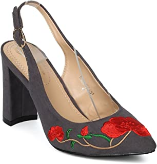 Alrisco Women Faux Suede Embroidered Slingback Block Heel Pump HI34