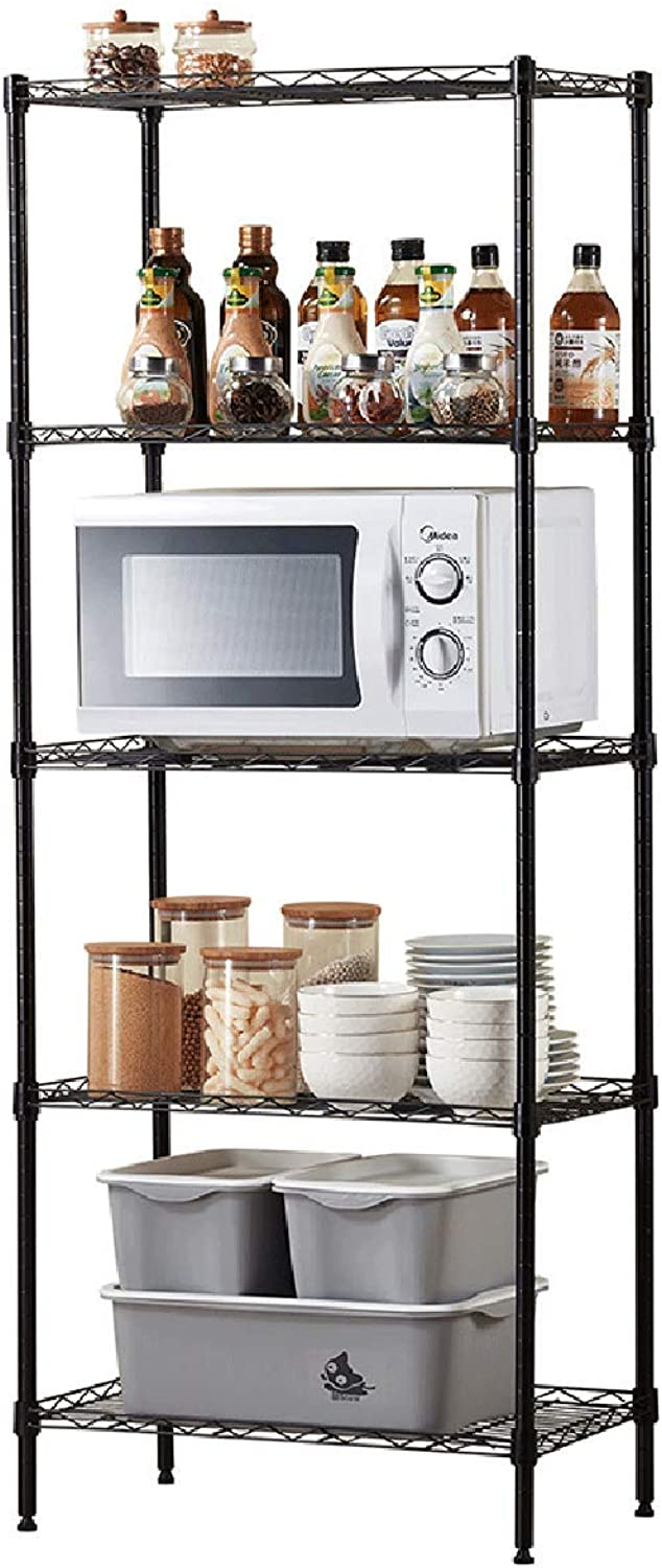Kitchen Shelf Shelving, Floor 5-Story Livingroom Bathroom Organizer, Wrought Iron Storage Rack, Black (L40cm×W30cm×H115cm)