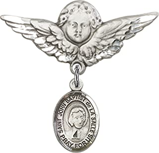 Sterling Silver Baby Badge Guardian Angel Pin with Charm, 1 1/4 Inch