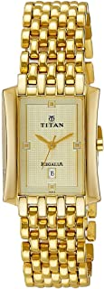 Titan Regalia Men's Gold Dial Stainless Steel Band Watch - T1927YM05