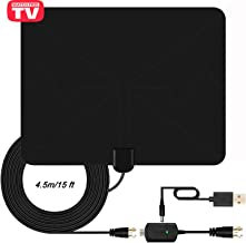 TV Antenna, HDTV Antenna for Digital TV Indoor, 65-85+ Miles Long Range Access Freeview HD Antenna, 1080P VHF/UHF/FM Stronger Reception for All Types Built-in Tuner Home Smart TV/Radio-2019 New
