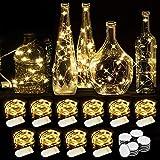 WEARXI Luci LED a Batteria - 10 Pezzi 2M 20LEDs Lucine Led Decorative, Filo Led con Batteria, Miniature Lamp per Camere, Tavolo Lungo, Feste, Giardino, Natalizie, Halloween, Matrimonio (Bianco Caldo)
