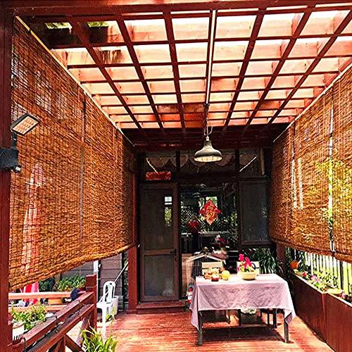 HJZY Sombra enrollable para exteriores, cortina de caña natural Persiana de bambú, cortina de paja de decoración retro, adecuada para patio, jardín, interior y exterior