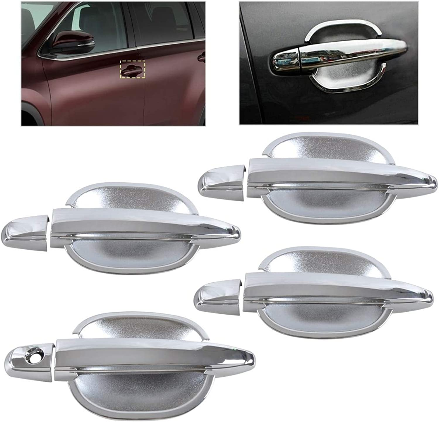StarShopinc  ABS Chrome Door Handle Cover + Cup Bowl Cover Trim for Toyota Camry Highlander Avalon 4Runner Sienna Tacoma 2008