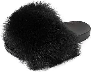 Women's Slides Faux Fur Cute Fuzzy Slippers Comfort Flat Sandals