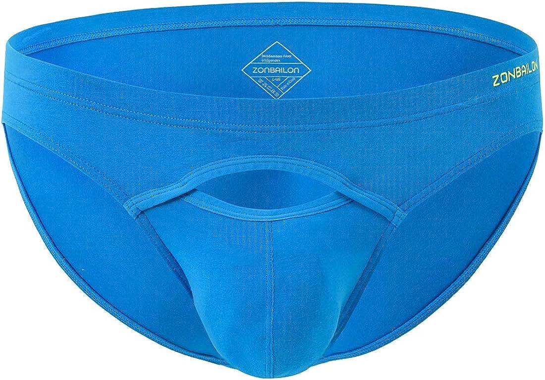 ZONBAILON Men's Underwear Boxer Briefs Low Rise Opening Silk Tagless Soft Pack