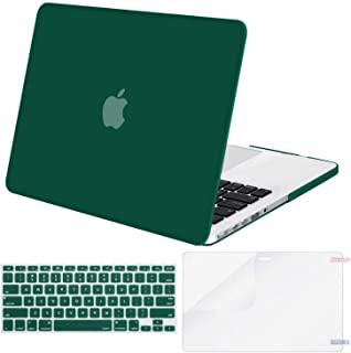 MOSISO Case Only Compatible with Older Version MacBook Pro Retina 13 inch (Models: A1502 & A1425) (Release 2015 - end 2012), Plastic Hard Shell & Keyboard Cover & Screen Protector, Peacock Green