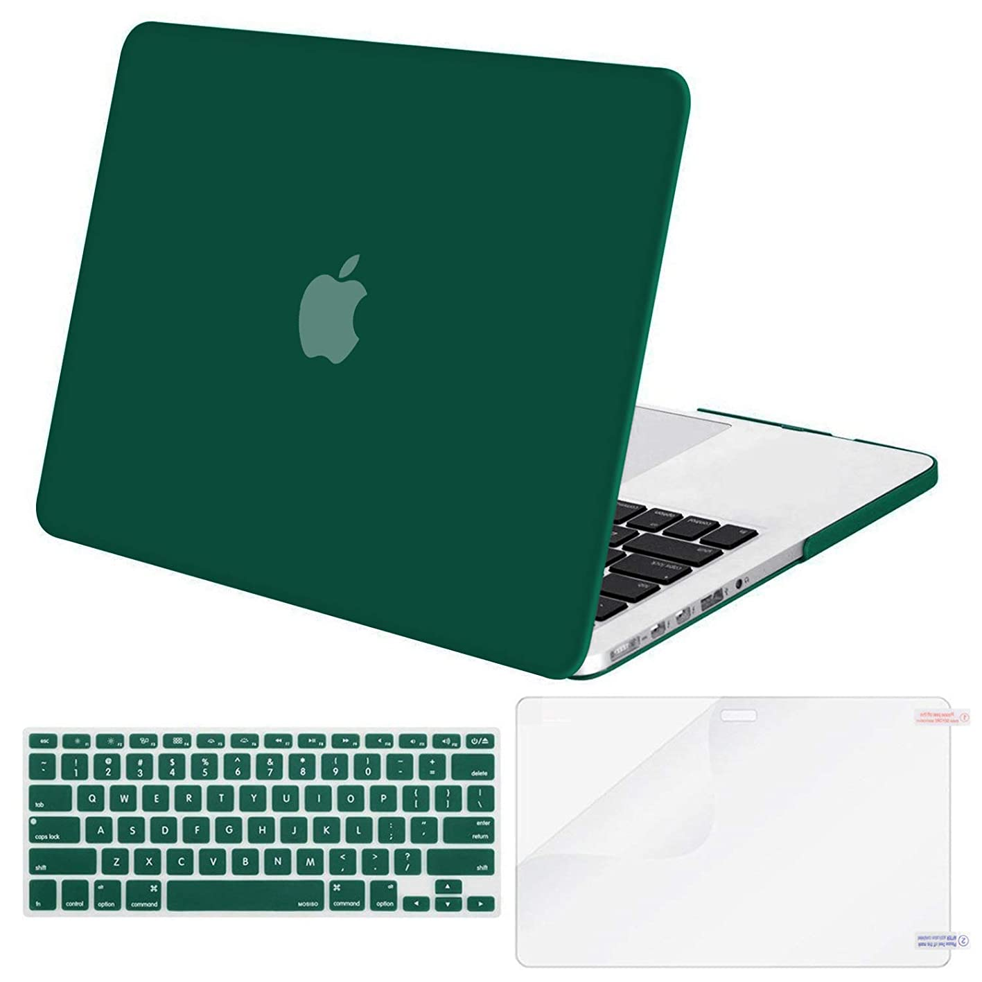 MOSISO Case Only Compatible Older Version MacBook Pro Retina 13 Inch (Model: A1502 & A1425) (Release 2015 - end 2012), Plastic Hard Shell & Keyboard Cover & Screen Protector, Peacock Green vzzlbbhoksc400