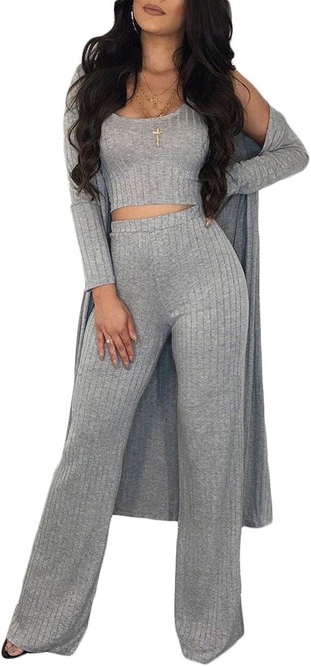 3PCS Women/'s Winter Suits Ribbed Sweater Cardigan+Wide Leg Pants+Vest Tracksuits