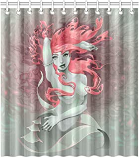 FUNNY KIDS'HOME Cartoon Mermaid with Red Hair in The Ocean Shower Curtain Fantasy Sexy Fairy Waterproof Polyester Peva Curtain with Hooks Novelty Bathroom Decor 72 by 72 inches