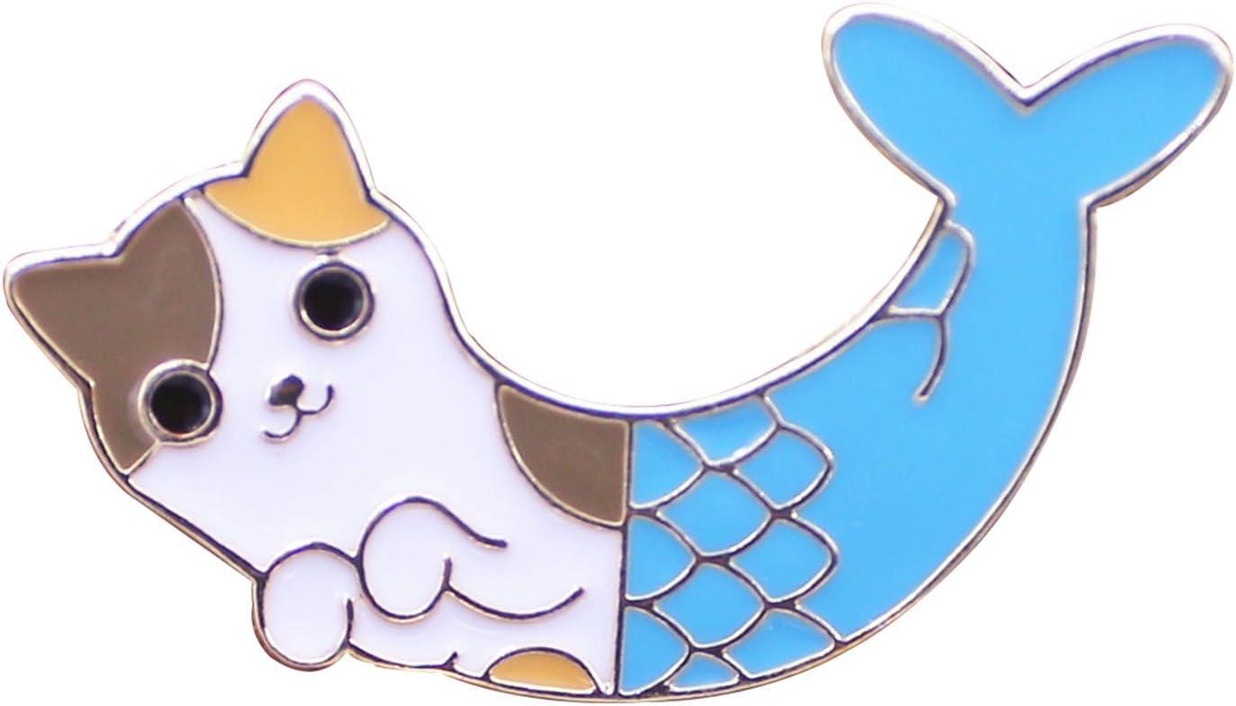 Seventopia Unisex Cat Mermaid Enamel Pin Cute Kitty Merman Lapel Brooch with Butterfly Clutch