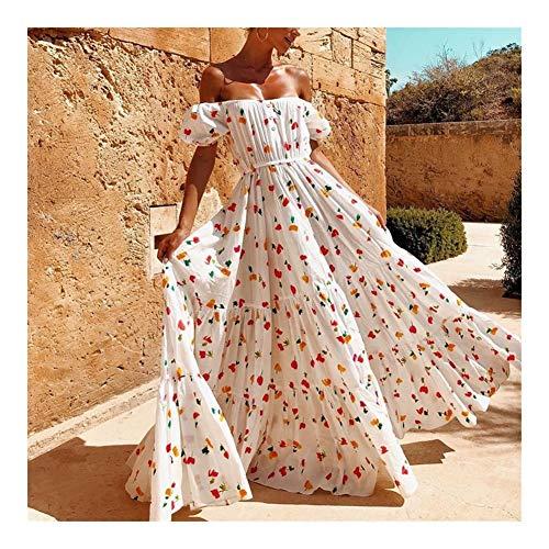 HSJWOSA Akrobatisch Damen Sexy Weg von der Schulter-Blumendruck-Partei-Kleid-Frauen-Sommer-Kurzschluss-Hülsen Boho Kleid-Boot-Ausschnitt Long Beach Kleid Elastisch (Color : White, Size : M)